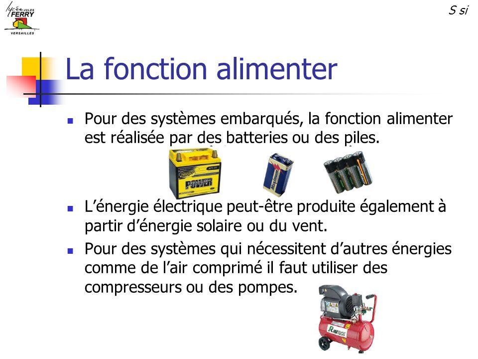 La fonction alimenter Pour des systèmes embarqués, la fonction alimenter est réalisée par des batteries ou des piles. Lénergie électrique peut-être pr