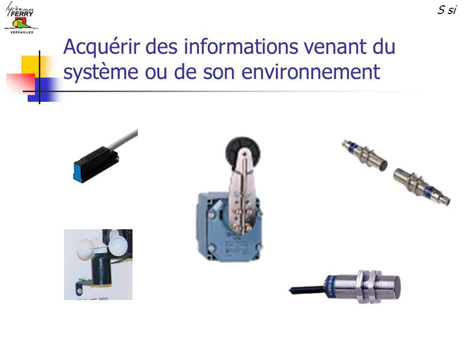 Acquérir des informations venant du système ou de son environnement S si