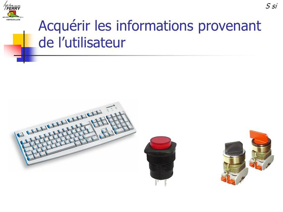 Acquérir les informations provenant de lutilisateur S si