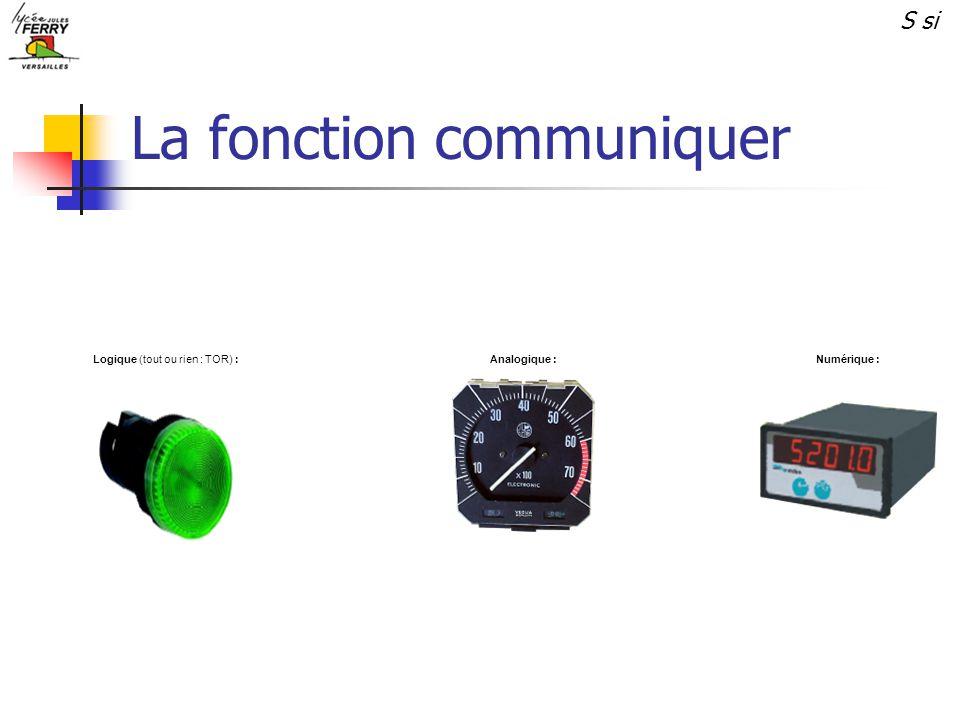 La fonction communiquer Numérique :Analogique :Logique (tout ou rien : TOR) : S si