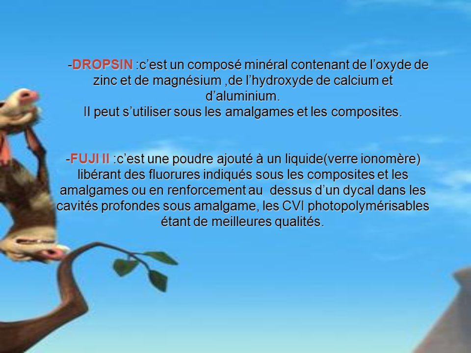 -DROPSIN :cest un composé minéral contenant de loxyde de zinc et de magnésium,de lhydroxyde de calcium et daluminium. -DROPSIN :cest un composé minéra
