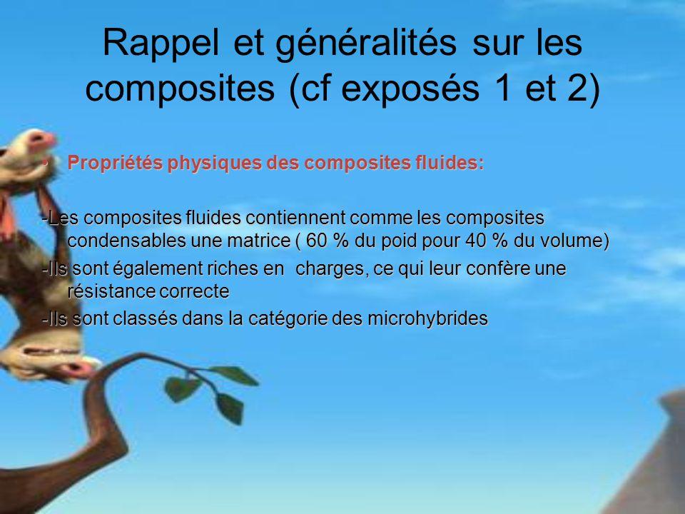 Rappel et généralités sur les composites (cf exposés 1 et 2) Propriétés physiques des composites fluides:Propriétés physiques des composites fluides: