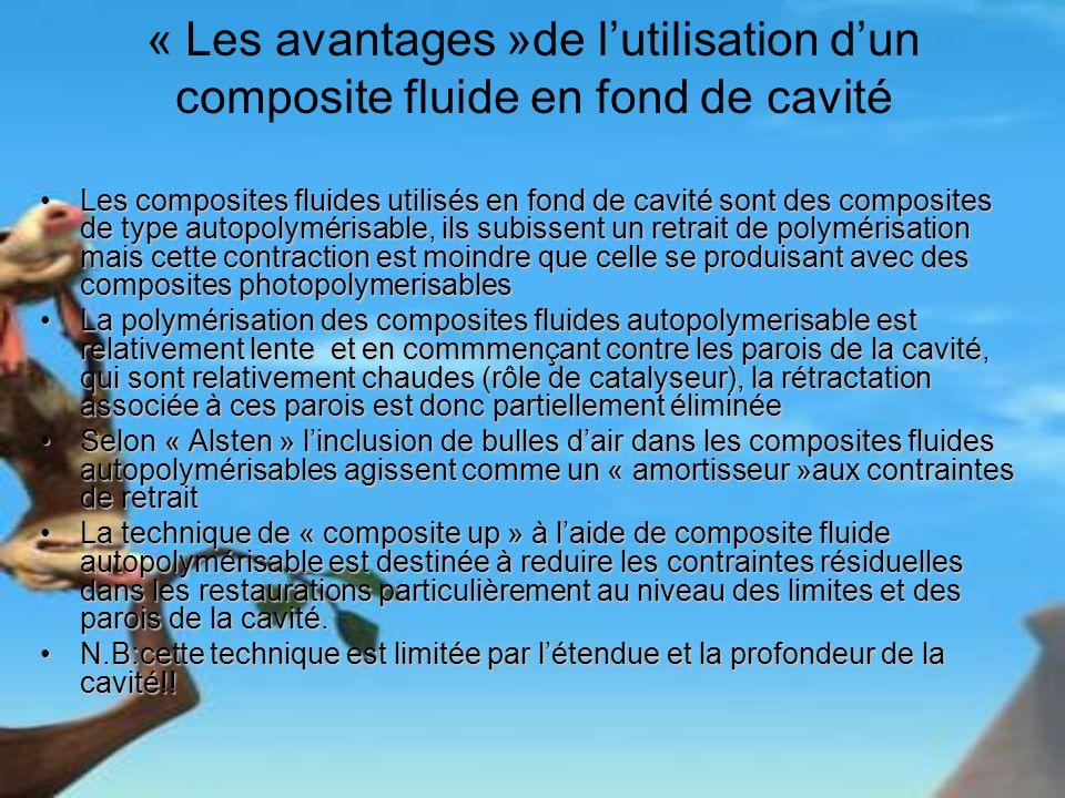 « Les avantages »de lutilisation dun composite fluide en fond de cavité Les composites fluides utilisés en fond de cavité sont des composites de type