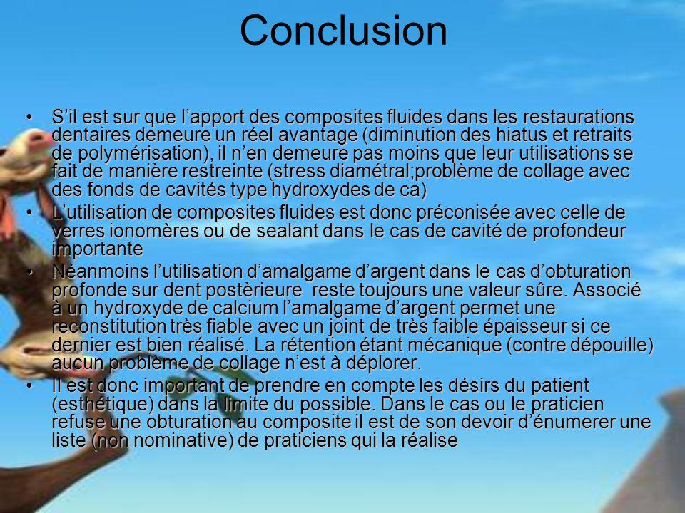 Conclusion Sil est sur que lapport des composites fluides dans les restaurations dentaires demeure un réel avantage (diminution des hiatus et retraits