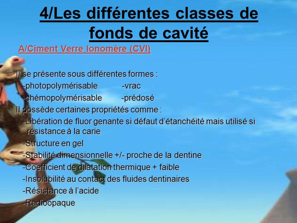 4/Les différentes classes de fonds de cavité A/Ciment Verre Ionomère (CVI) A/Ciment Verre Ionomère (CVI) Il se présente sous différentes formes : -pho