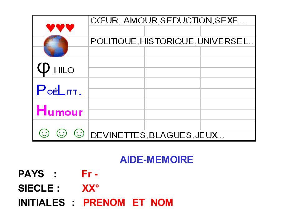 AIDE-MEMOIRE PAYS : Fr - SIECLE : XX° INITIALES : PRENOM ET NOM