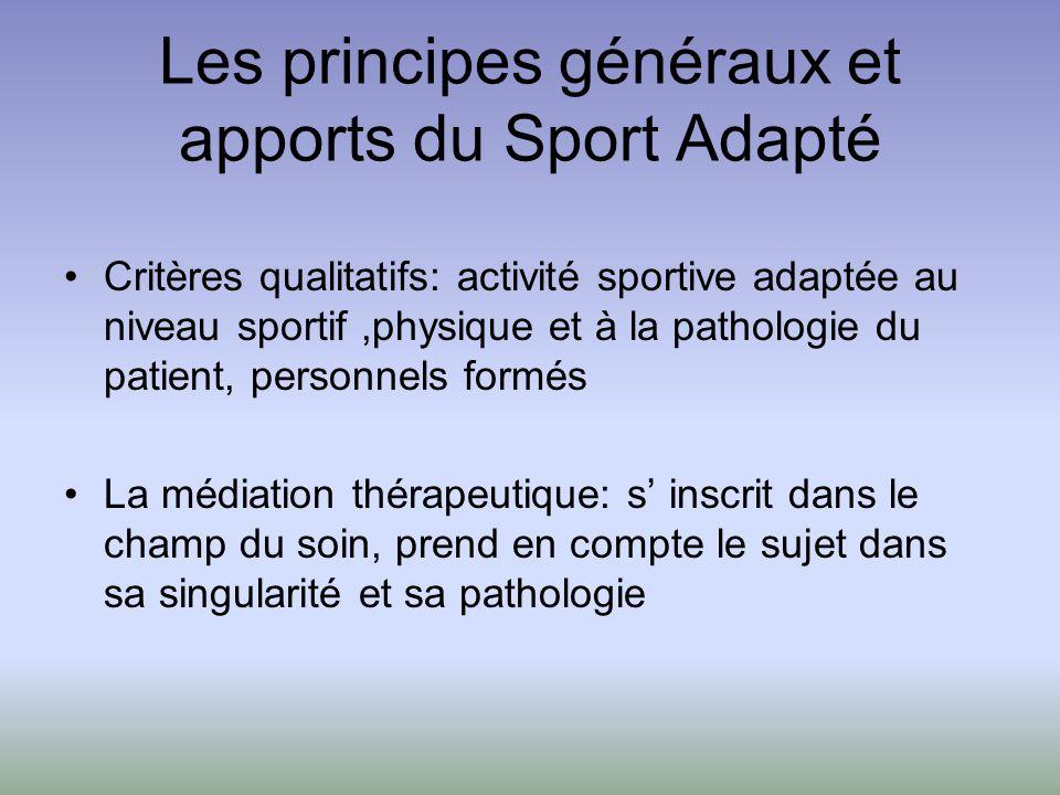 Les principes généraux et apports du Sport Adapté Critères qualitatifs: activité sportive adaptée au niveau sportif,physique et à la pathologie du pat