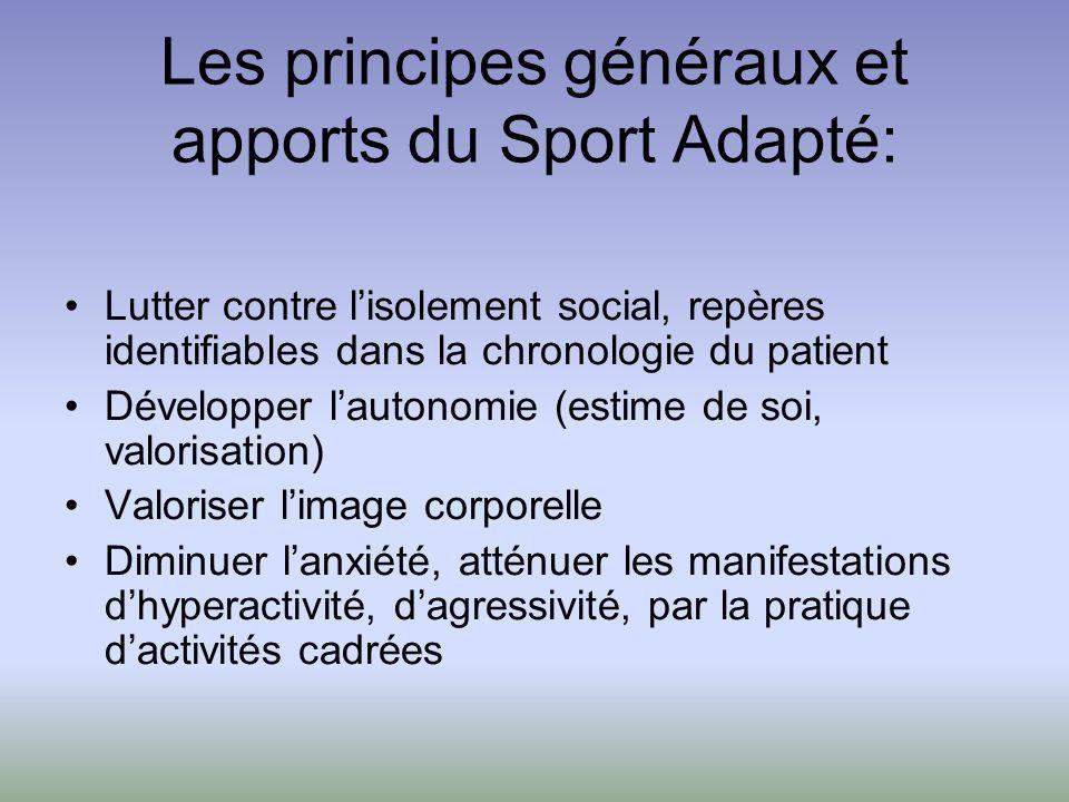 Les principes généraux et apports du Sport Adapté: Lutter contre lisolement social, repères identifiables dans la chronologie du patient Développer la