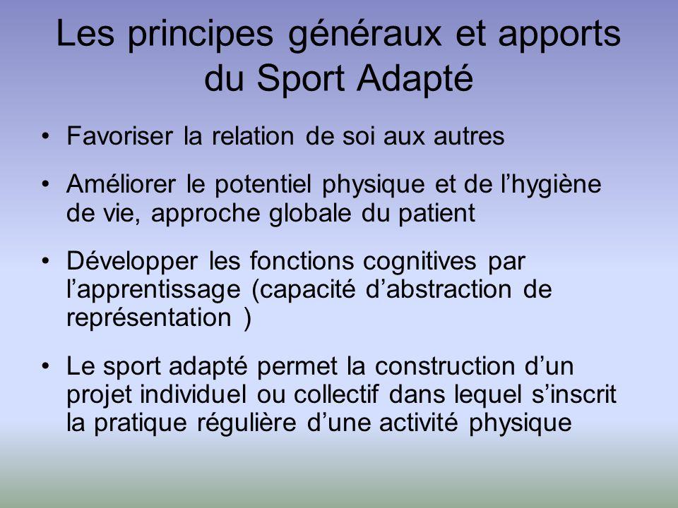 Les principes généraux et apports du Sport Adapté Favoriser la relation de soi aux autres Améliorer le potentiel physique et de lhygiène de vie, appro