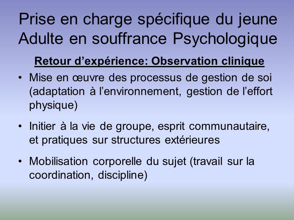 Prise en charge spécifique du jeune Adulte en souffrance Psychologique Retour dexpérience: Observation clinique Mise en œuvre des processus de gestion