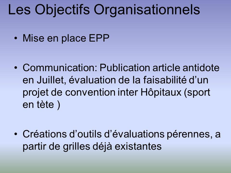 Les Objectifs Organisationnels Mise en place EPP Communication: Publication article antidote en Juillet, évaluation de la faisabilité dun projet de co