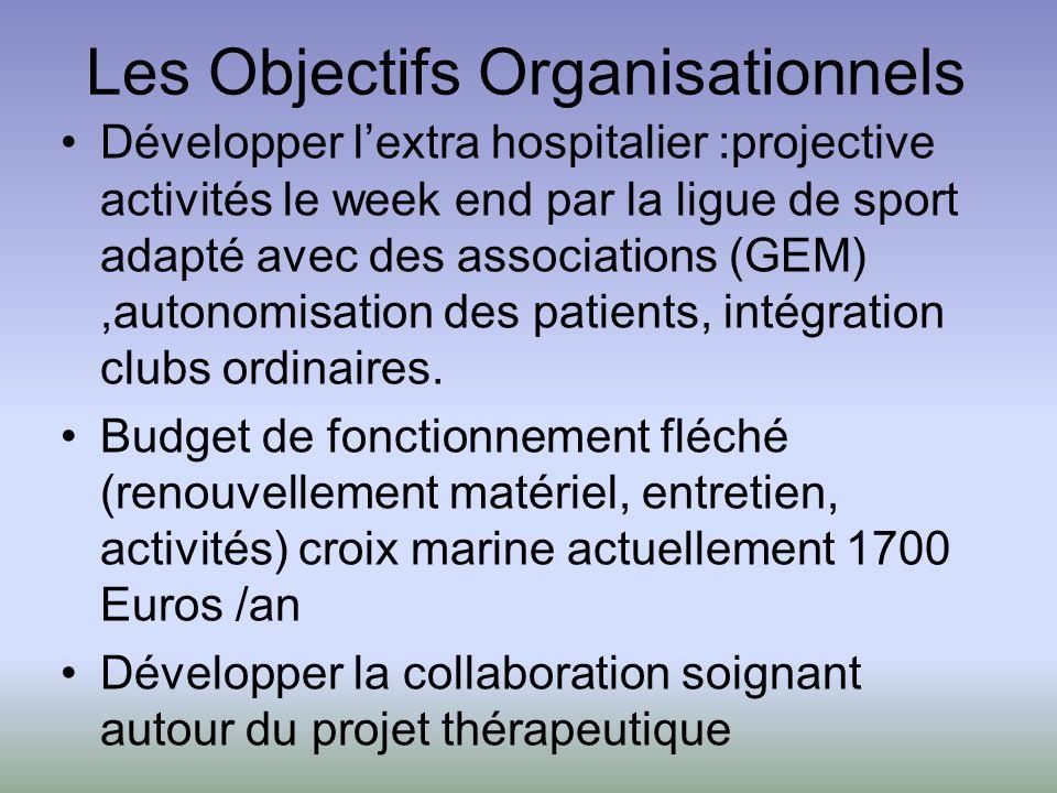 Les Objectifs Organisationnels Développer lextra hospitalier :projective activités le week end par la ligue de sport adapté avec des associations (GEM