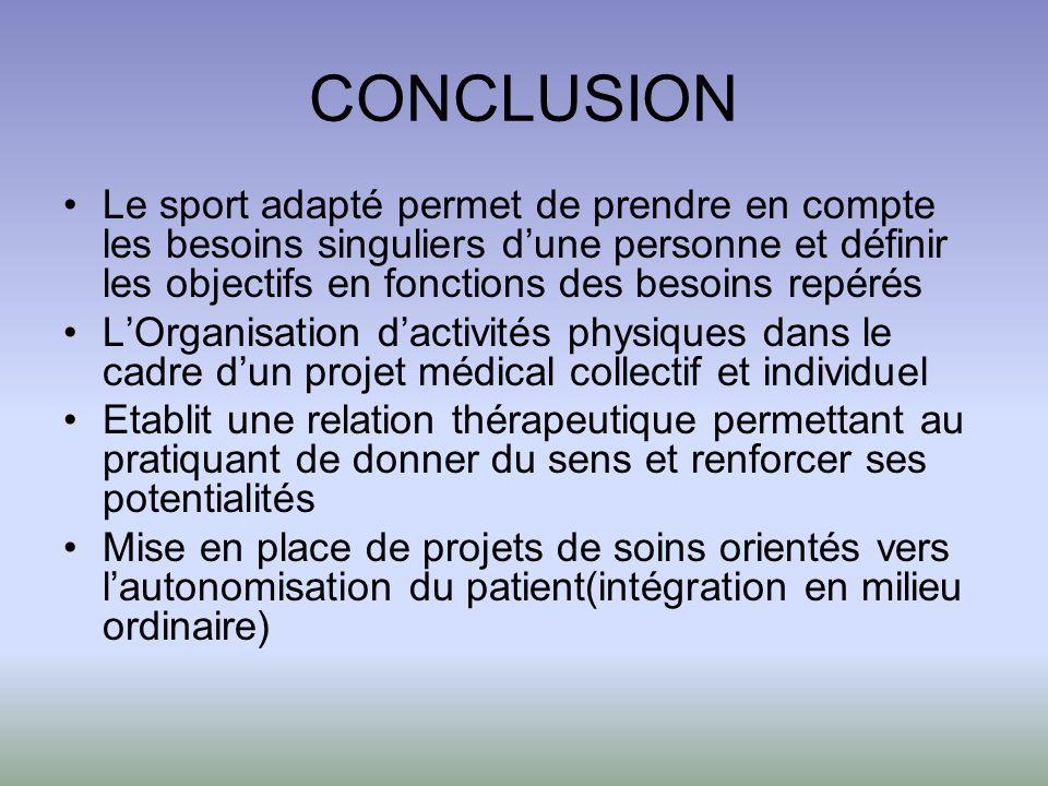 CONCLUSION Le sport adapté permet de prendre en compte les besoins singuliers dune personne et définir les objectifs en fonctions des besoins repérés