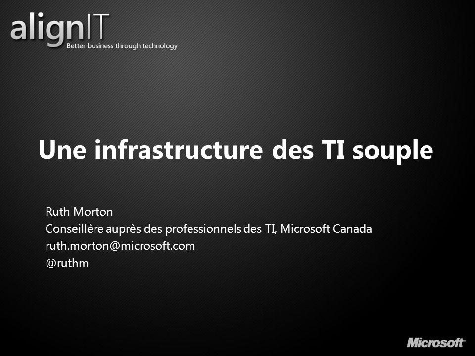 Une infrastructure des TI souple Ruth Morton Conseillère auprès des professionnels des TI, Microsoft Canada ruth.morton@microsoft.com @ruthm