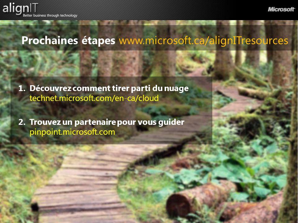 Prochaines étapes www.microsoft.ca/alignITresources 1.Découvrez comment tirer parti du nuage technet.microsoft.com/en-ca/cloud 2.Trouvez un partenaire pour vous guider pinpoint.microsoft.com