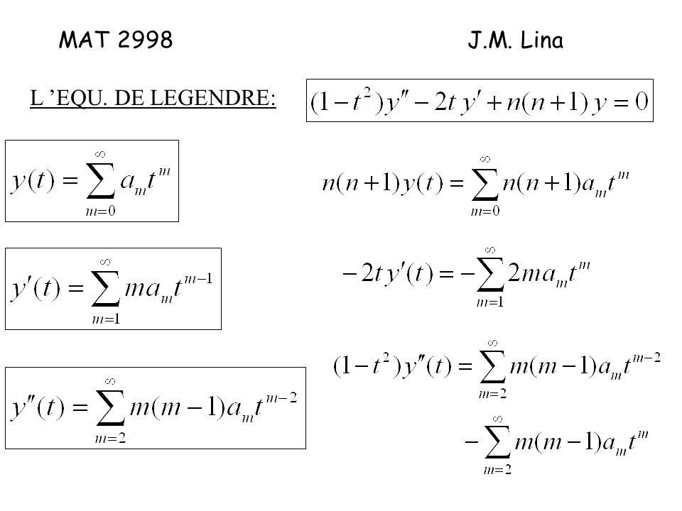 MAT 2998J.M. Lina L EQU. DE LEGENDRE: