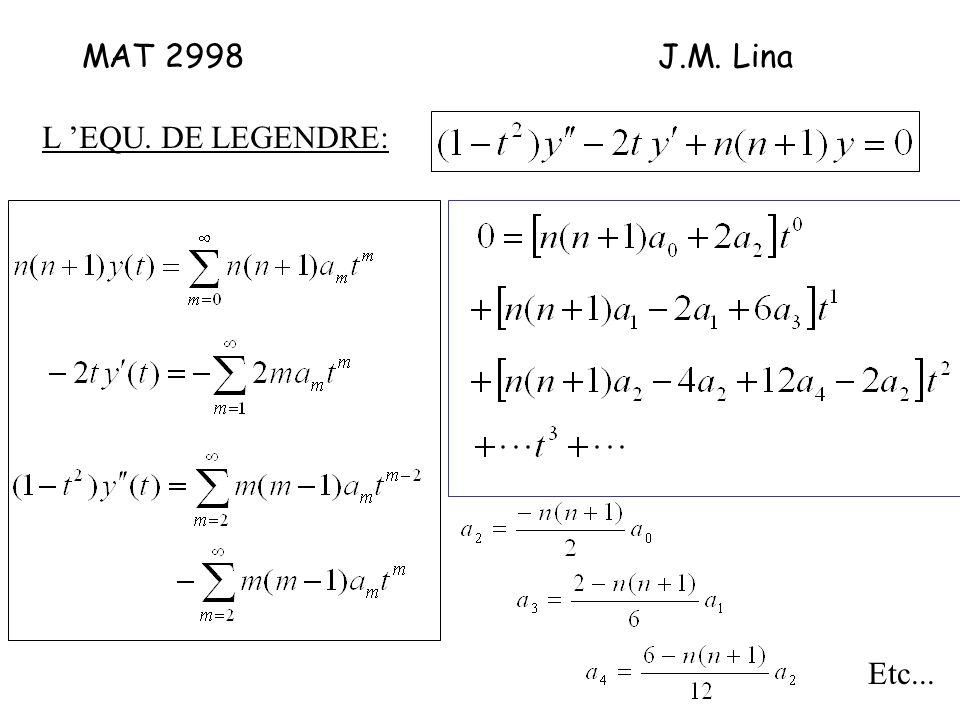 MAT 2998J.M. Lina L EQU. DE LEGENDRE: Etc...