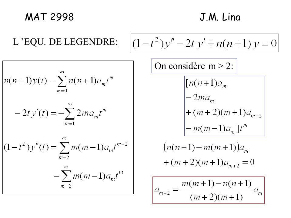 MAT 2998J.M. Lina L EQU. DE LEGENDRE: On considère m > 2: