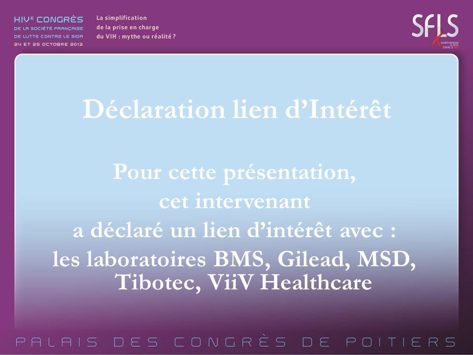 Pour cette présentation, cet intervenant a déclaré un lien dintérêt avec : les laboratoires BMS, Gilead, MSD, Tibotec, ViiV Healthcare Déclaration lie