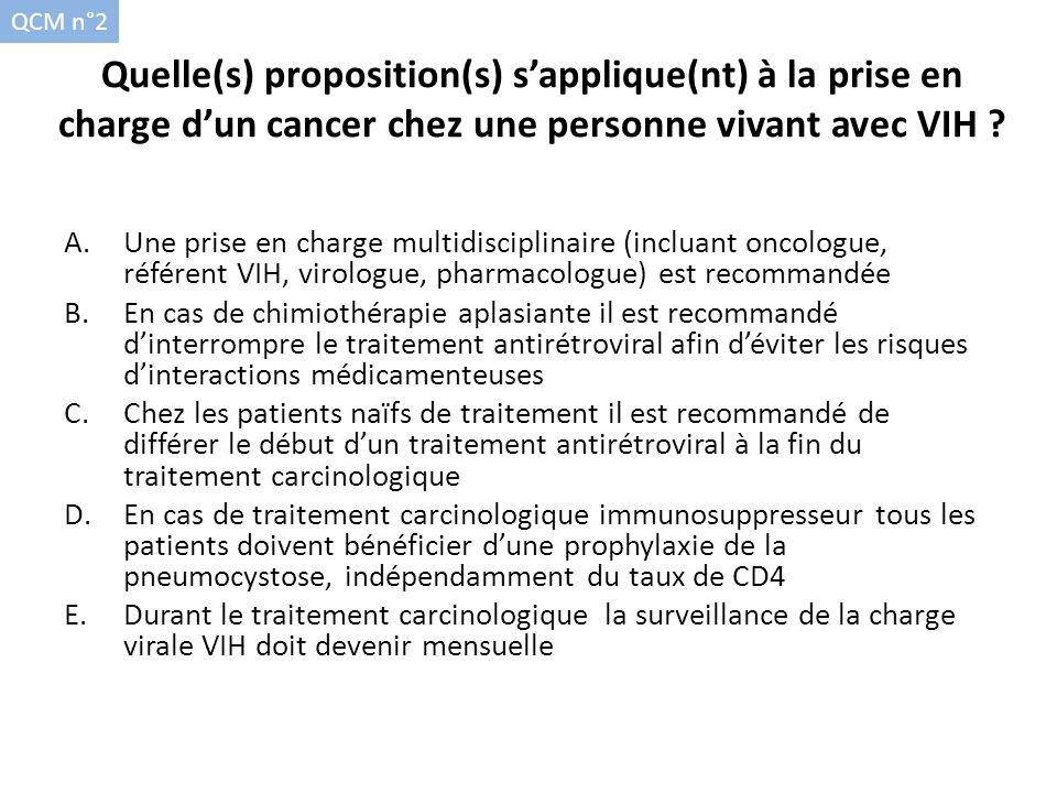 Quelle(s) proposition(s) sapplique(nt) à la prise en charge dun cancer chez une personne vivant avec VIH ? A.Une prise en charge multidisciplinaire (i