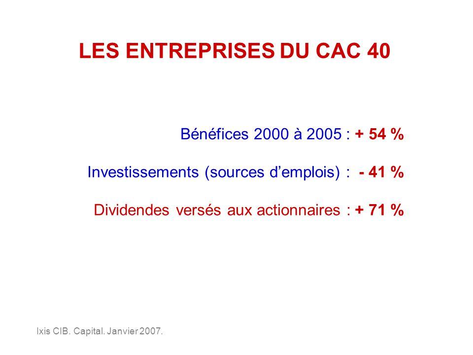 LES ENTREPRISES DU CAC 40 Bénéfices 2000 à 2005 : + 54 % Investissements (sources demplois) : - 41 % Ixis CIB.