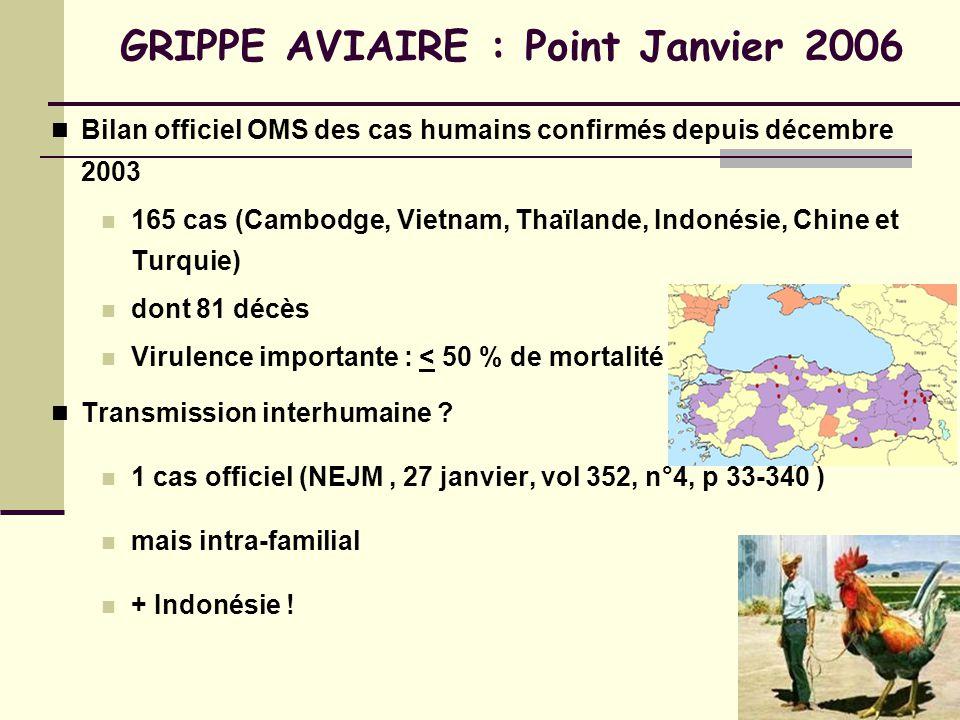 GRIPPE AVIAIRE : Point Janvier 2006 Bilan officiel OMS des cas humains confirmés depuis décembre 2003 165 cas (Cambodge, Vietnam, Thaïlande, Indonésie, Chine et Turquie) dont 81 décès Virulence importante : < 50 % de mortalité ?.