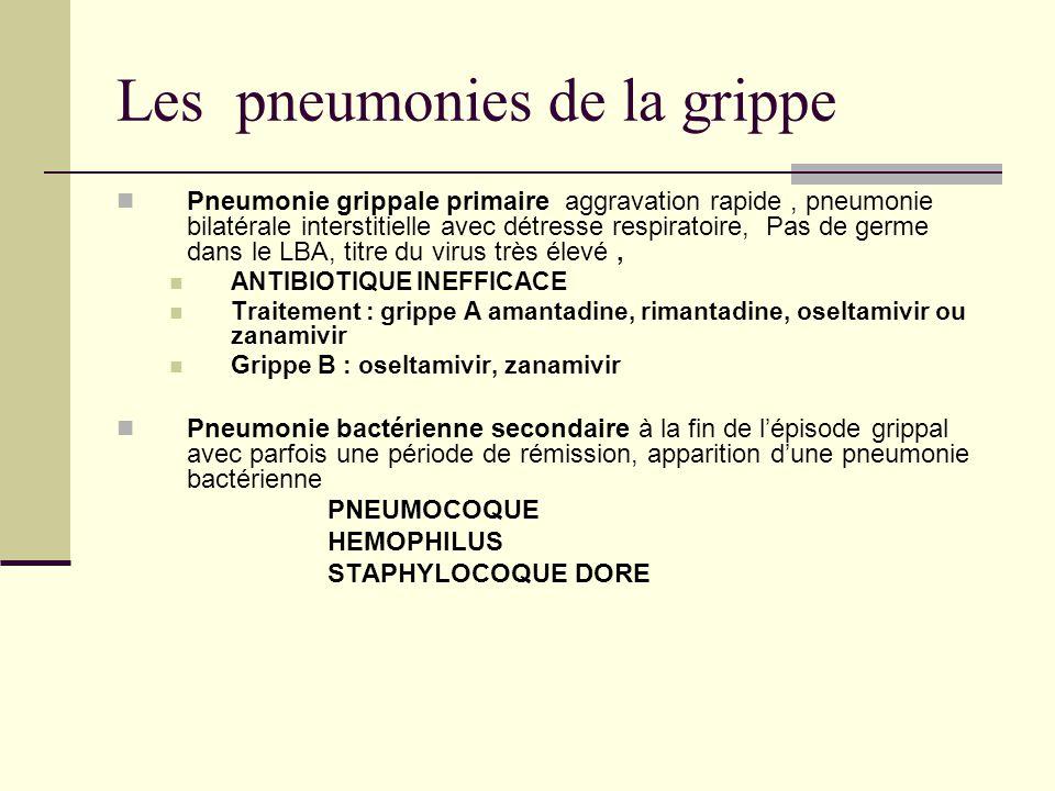 Les pneumonies de la grippe Pneumonie grippale primaire aggravation rapide, pneumonie bilatérale interstitielle avec détresse respiratoire, Pas de germe dans le LBA, titre du virus très élevé, ANTIBIOTIQUE INEFFICACE Traitement : grippe A amantadine, rimantadine, oseltamivir ou zanamivir Grippe B : oseltamivir, zanamivir Pneumonie bactérienne secondaire à la fin de lépisode grippal avec parfois une période de rémission, apparition dune pneumonie bactérienne PNEUMOCOQUE HEMOPHILUS STAPHYLOCOQUE DORE