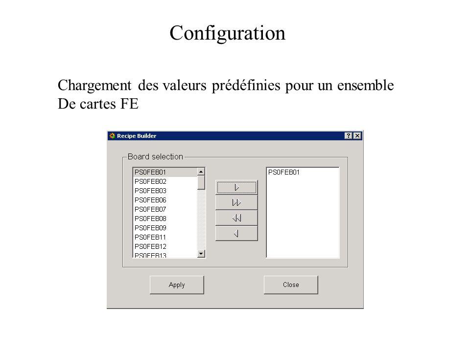 Chargement des valeurs prédéfinies pour un ensemble De cartes FE Configuration