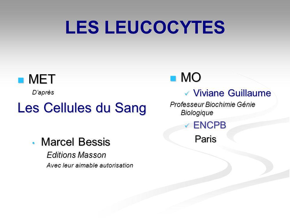LES LEUCOCYTES MET METDaprès Les Cellules du Sang Marcel Bessis Marcel Bessis Editions Masson Avec leur aimable autorisation MO MO Viviane Guillaume V