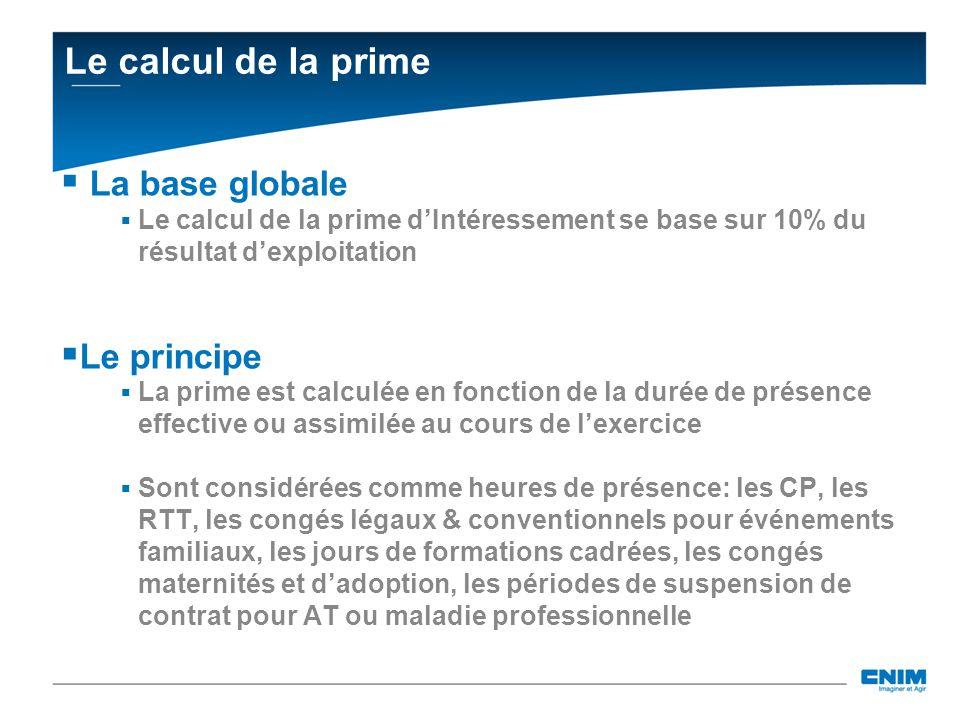 Le calcul de la prime La base globale Le calcul de la prime dIntéressement se base sur 10% du résultat dexploitation Le principe La prime est calculée