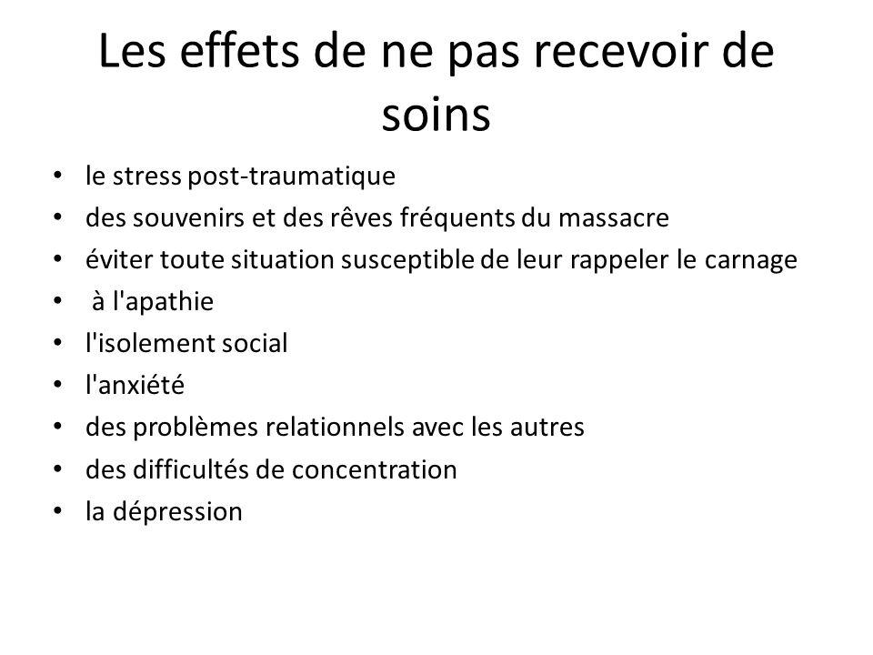 Les effets de ne pas recevoir de soins le stress post-traumatique des souvenirs et des rêves fréquents du massacre éviter toute situation susceptible