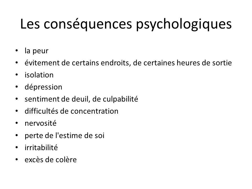 Les conséquences psychologiques la peur évitement de certains endroits, de certaines heures de sortie isolation dépression sentiment de deuil, de culp