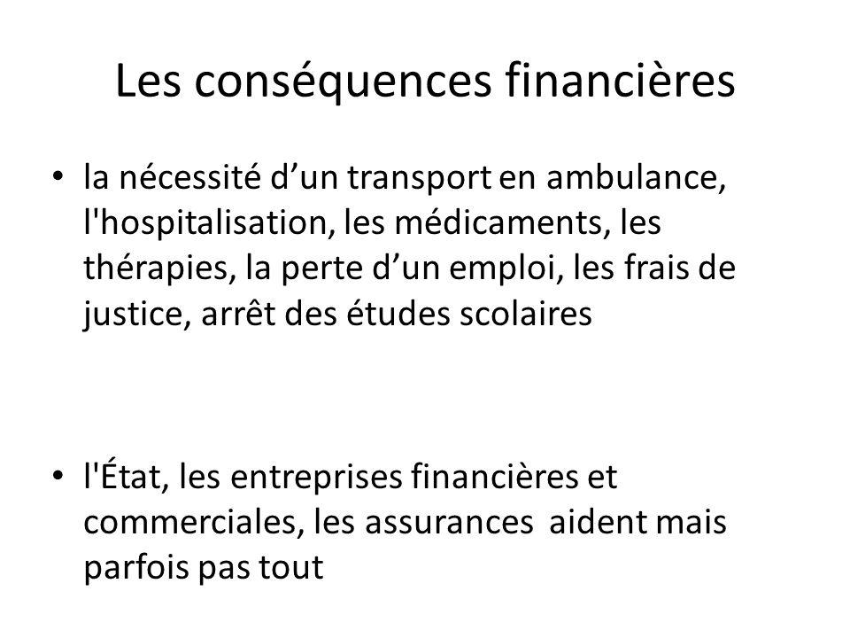 Les conséquences financières la nécessité dun transport en ambulance, l'hospitalisation, les médicaments, les thérapies, la perte dun emploi, les frai