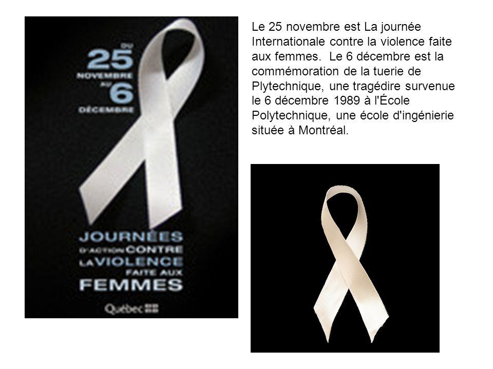 Le 25 novembre est La journée Internationale contre la violence faite aux femmes. Le 6 décembre est la commémoration de la tuerie de Plytechnique, une