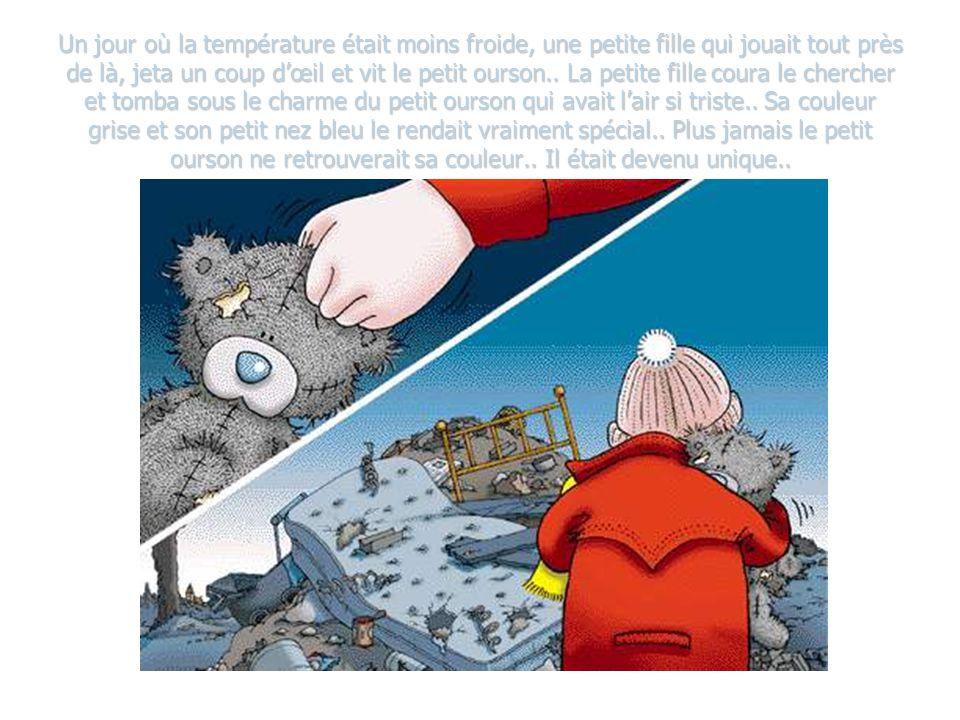 Un jour où la température était moins froide, une petite fille qui jouait tout près de là, jeta un coup dœil et vit le petit ourson..