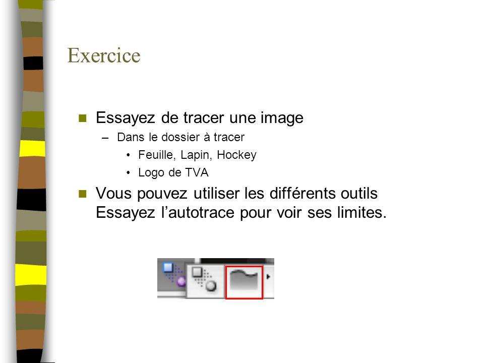 Exercice Essayez de tracer une image –Dans le dossier à tracer Feuille, Lapin, Hockey Logo de TVA Vous pouvez utiliser les différents outils Essayez l