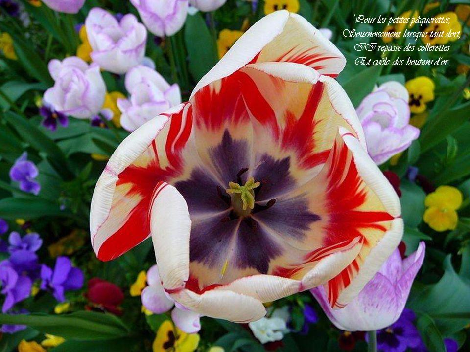 Tandis quà leurs œuvres perverses Les hommes courent haletants, Mars qui rit, malgré les averses, Prépare en secret le printemps.