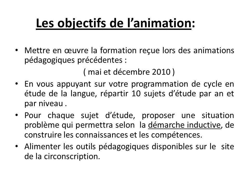 Mettre en œuvre la formation reçue lors des animations pédagogiques précédentes : ( mai et décembre 2010 ) En vous appuyant sur votre programmation de