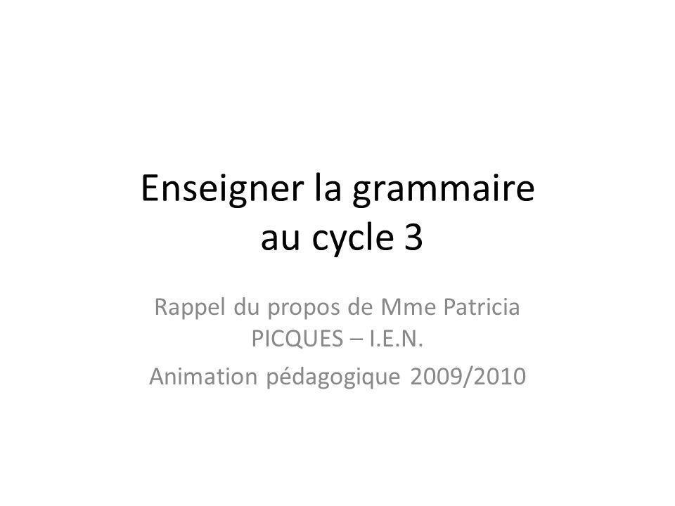Enseigner la grammaire au cycle 3 Rappel du propos de Mme Patricia PICQUES – I.E.N. Animation pédagogique 2009/2010