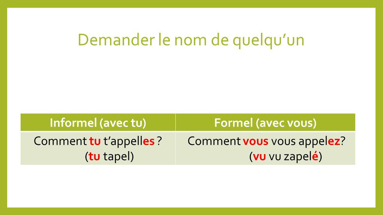 Demander le nom de quelquun Informel (avec tu)Formel (avec vous) Comment tu tappelles .