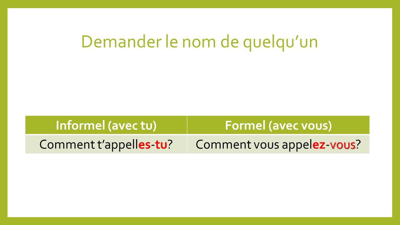 Demander le nom de quelquun Informel (avec tu)Formel (avec vous) Comment tappelles-tu.