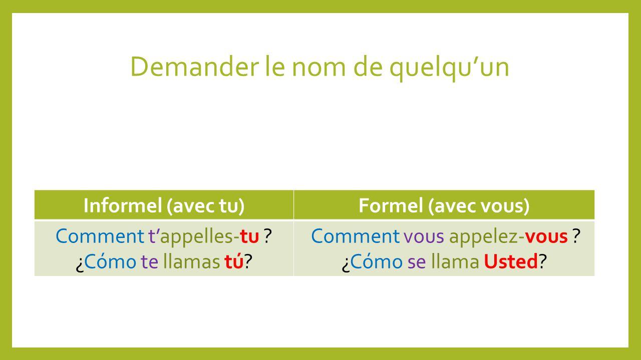 Demander le nom de quelquun Informel (avec tu)Formel (avec vous) Comment tappelles-tu .