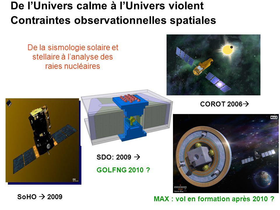 De lUnivers calme à lUnivers violent Contraintes observationnelles spatiales SoHO 2009 SDO: 2009 GOLFNG 2010 ? COROT 2006 MAX : vol en formation après