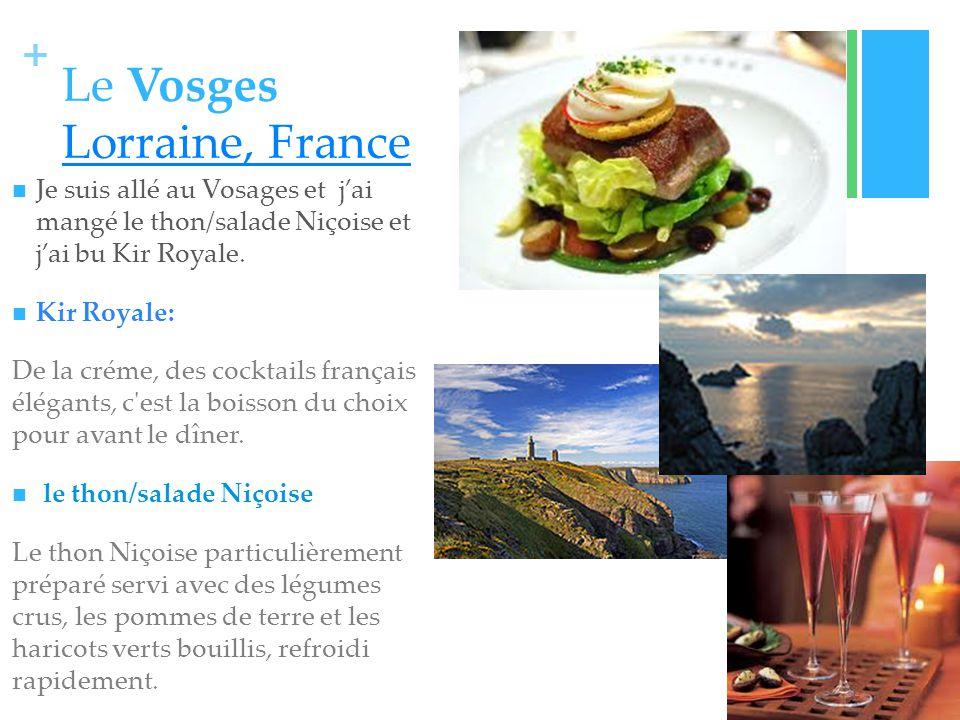 + Le Vosges Lorraine, France Lorraine, France Je suis allé au Vosages et jai mangé le thon/salade Niçoise et jai bu Kir Royale.
