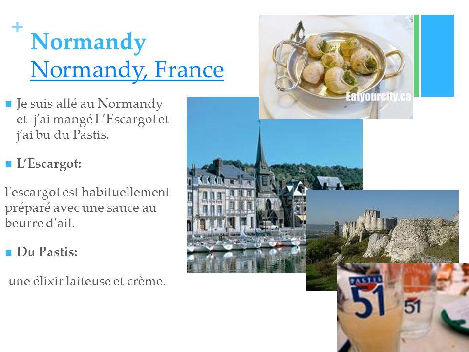 + Normandy Normandy, France Normandy, France Je suis allé au Normandy et jai mangé LEscargot et jai bu du Pastis.