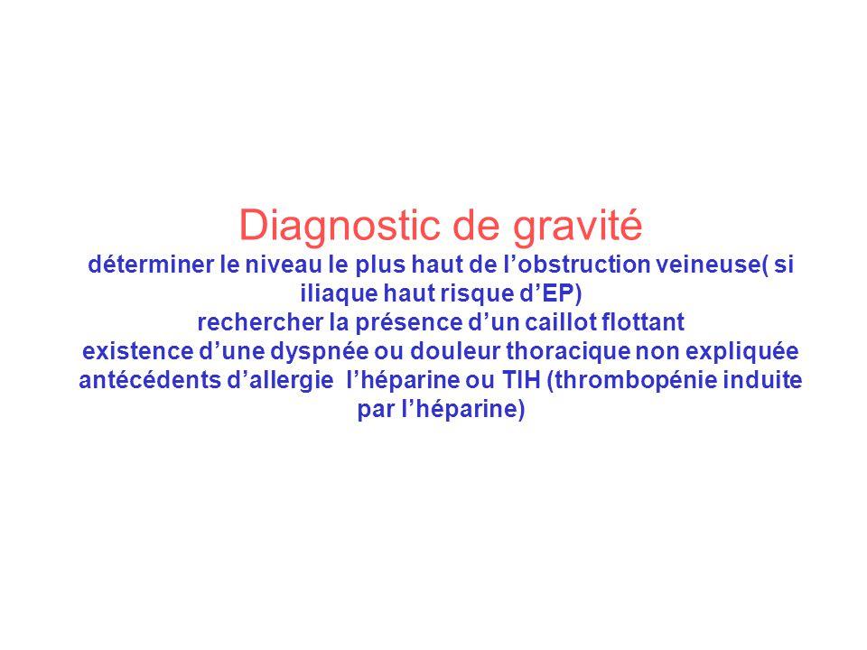 Diagnostic de gravité déterminer le niveau le plus haut de lobstruction veineuse( si iliaque haut risque dEP) rechercher la présence dun caillot flott