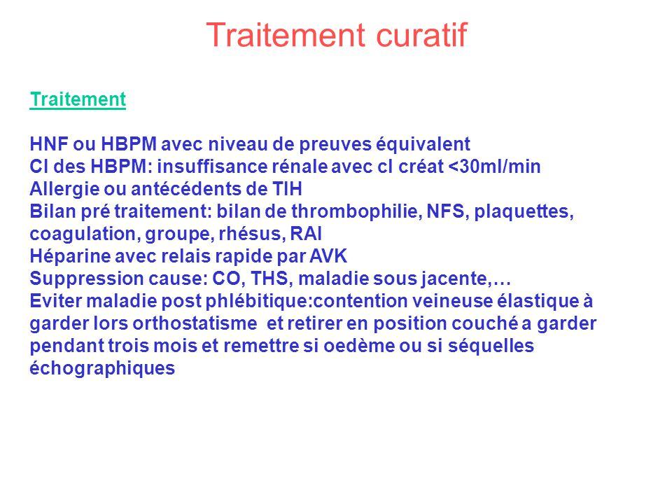 Traitement curatif Traitement HNF ou HBPM avec niveau de preuves équivalent CI des HBPM: insuffisance rénale avec cl créat <30ml/min Allergie ou antéc
