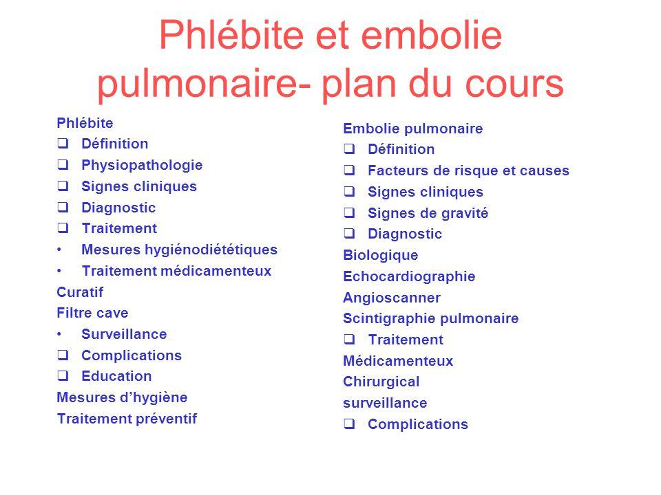 Phlébite et embolie pulmonaire- plan du cours Phlébite Définition Physiopathologie Signes cliniques Diagnostic Traitement Mesures hygiénodiététiques T