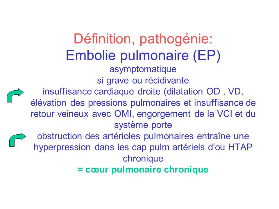 Définition, pathogénie: Embolie pulmonaire (EP) asymptomatique si grave ou récidivante insuffisance cardiaque droite (dilatation OD, VD, élévation des