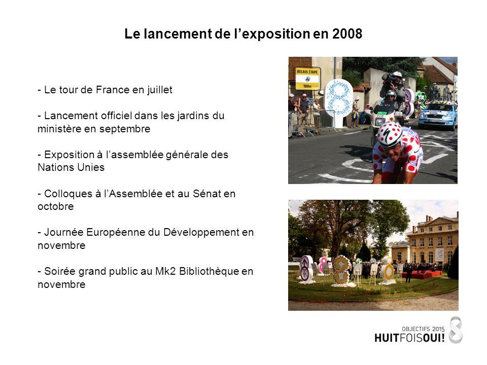Le lancement de lexposition en 2008 - Le tour de France en juillet - Lancement officiel dans les jardins du ministère en septembre - Exposition à lassemblée générale des Nations Unies - Colloques à lAssemblée et au Sénat en octobre - Journée Européenne du Développement en novembre - Soirée grand public au Mk2 Bibliothèque en novembre
